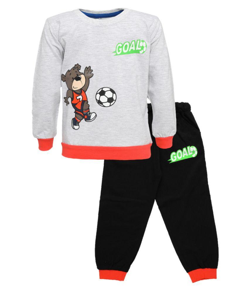 CATCUB Kids Cotton  Printed Clothing Set (Gray)