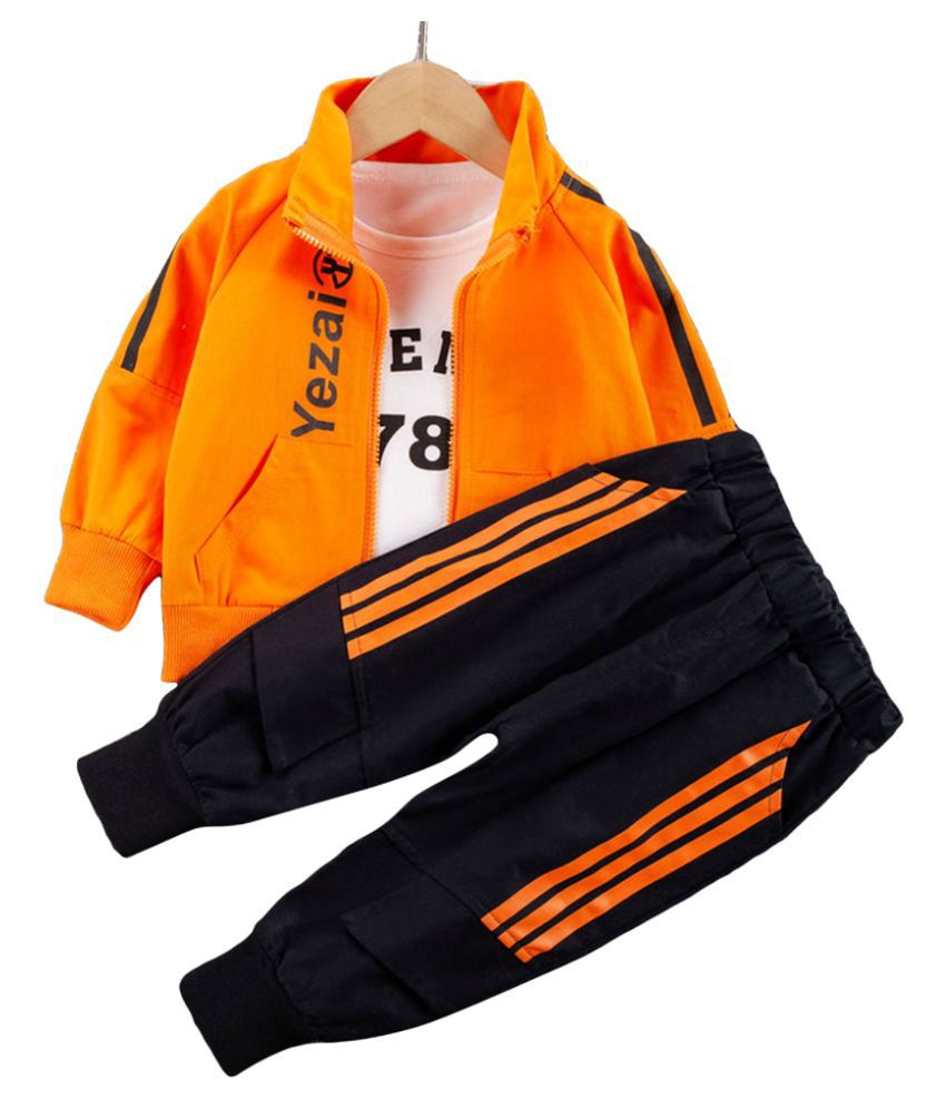 Hopscotch Boys Cotton And Polyester Full Sleeves Text Printed T-Shirt, Jacket And Jogger Set Layering Set in Orange Color For Ages 4-5 Years (YF0-3316196)