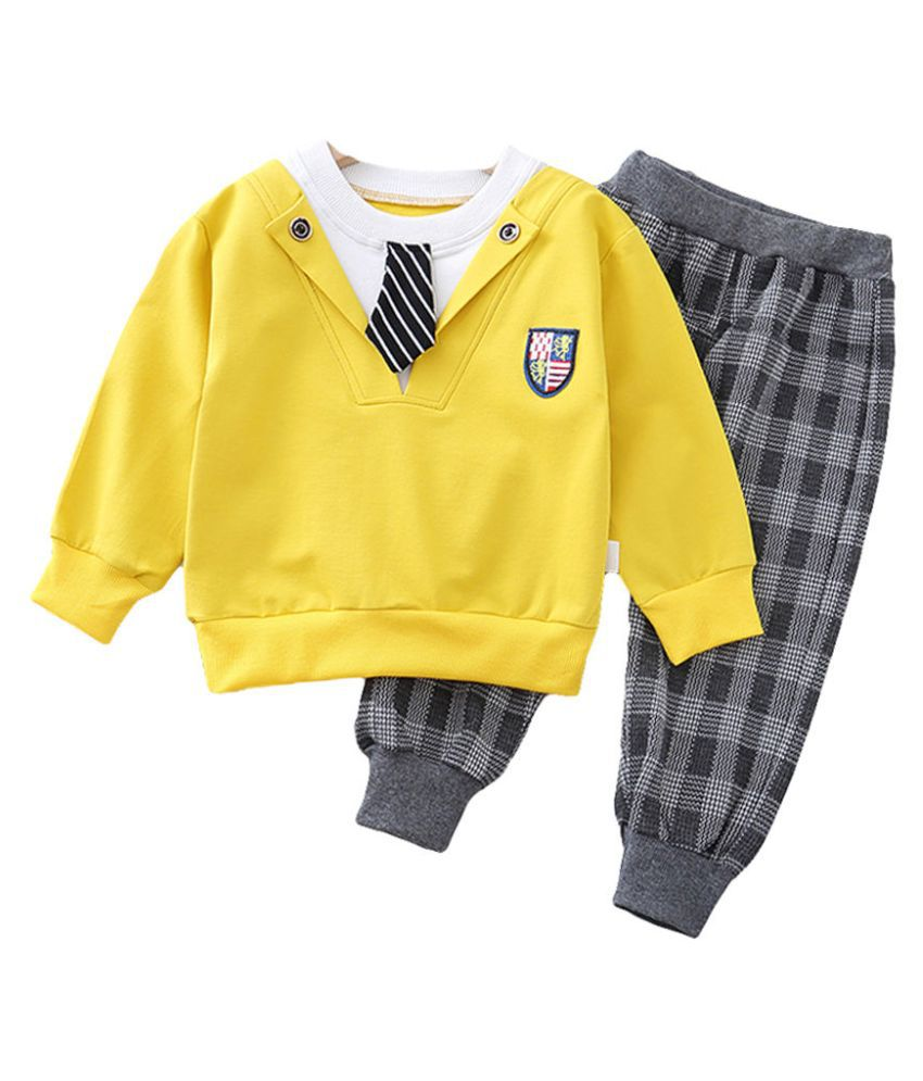 Hopscotch Boys Cotton And Spandex Full Sleeves Solid Sweatshirt And Jogger Formal Set in Yellow Color For Ages 2-3 Years (YIH-3250279)
