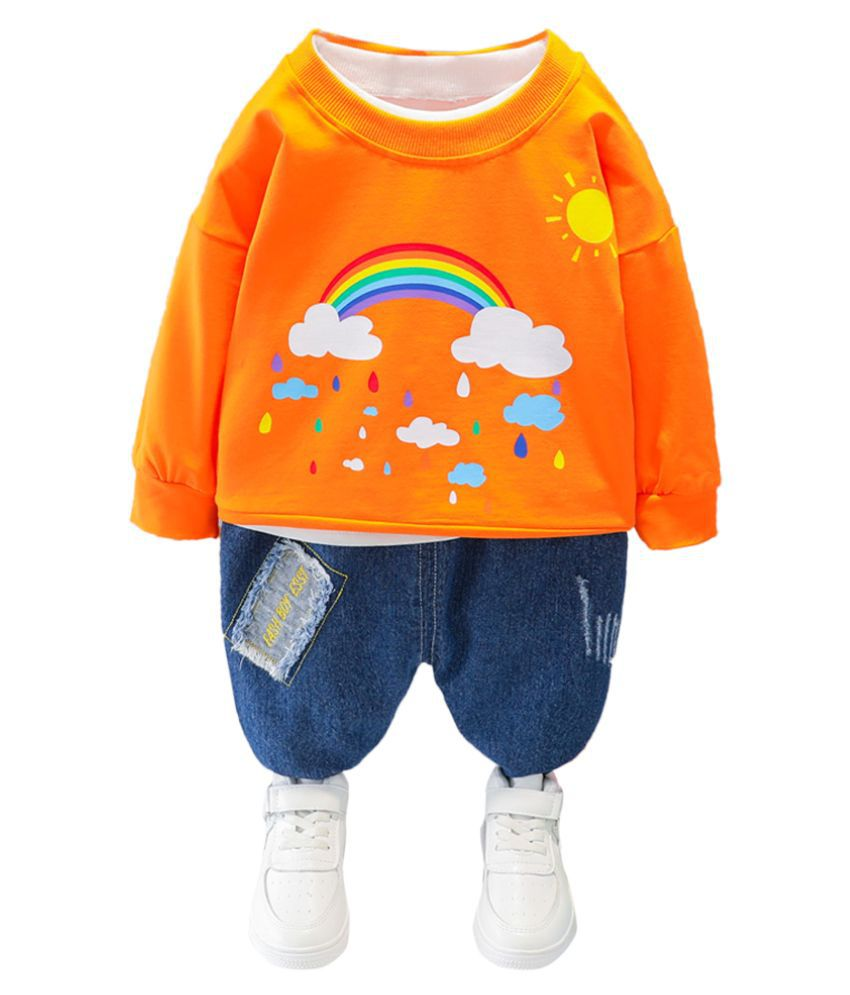 Hopscotch Boys Cotton And Spandex Full Sleeves Rainbow Printed T-Shirt And Jeans Set in Orange Color For Ages 2-3 Years (MDX-3134092)