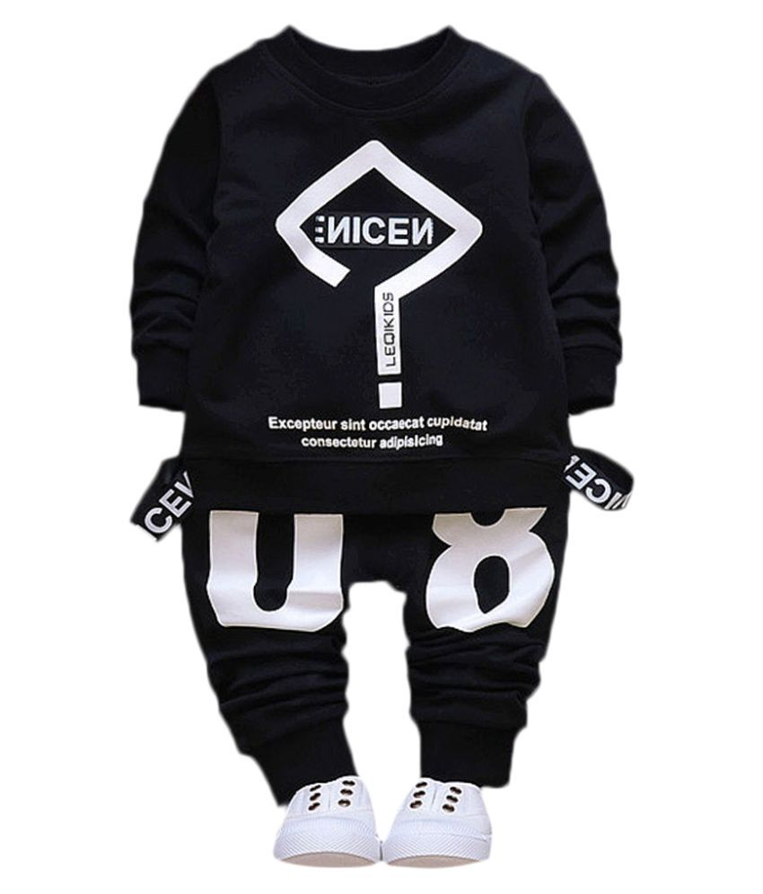 Hopscotch Boys Cotton And Spandex Text Art Printed Full Sleeves Sweatshirt And Pant Set in Black Color For Ages 3-4 Years (YAH-3133327)