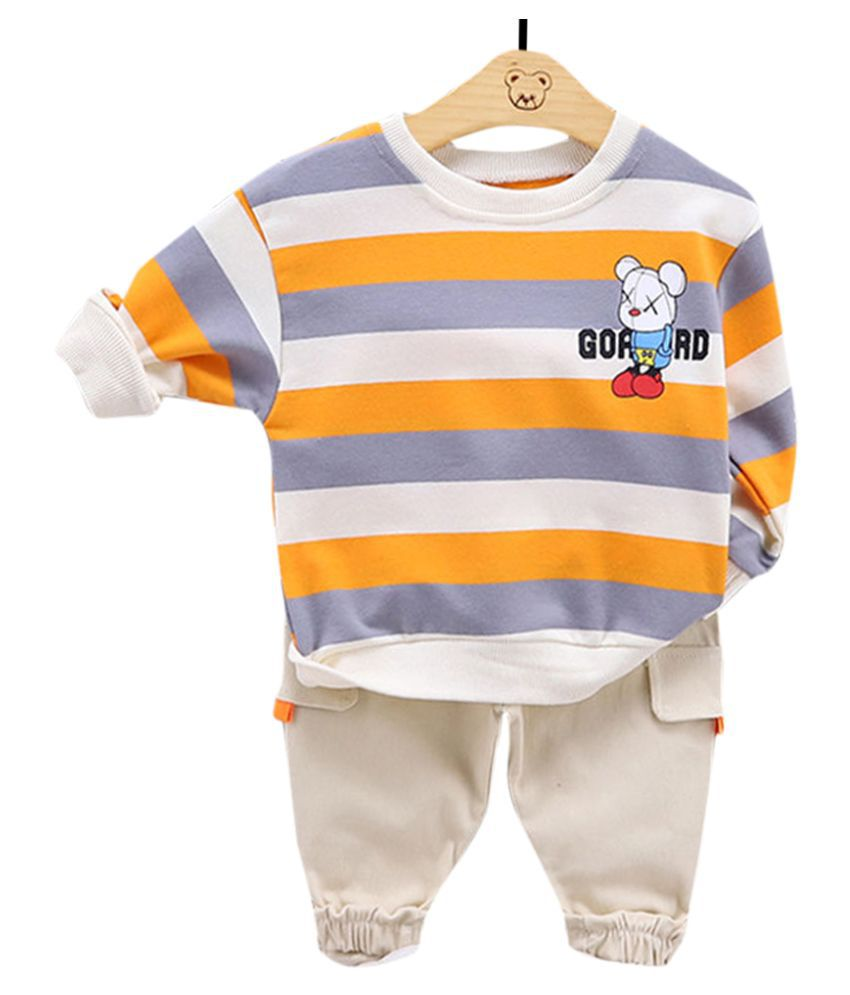 Hopscotch Boys Cotton And Spandex Full Sleeves Horizontal Stripes T-Shirt And Pant Set in Orange Color For Ages 4-5 Years (FB3-3134189)