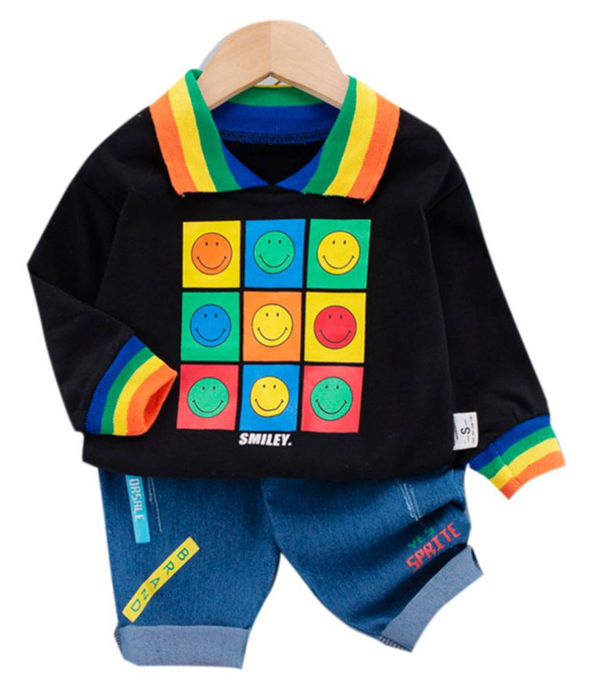 Hopscotch Boys Cotton And Spandex Full Sleeves Art Printed T-Shirt And Jeans Set in Black Color For Ages 4-5 Years (WER-3344322)