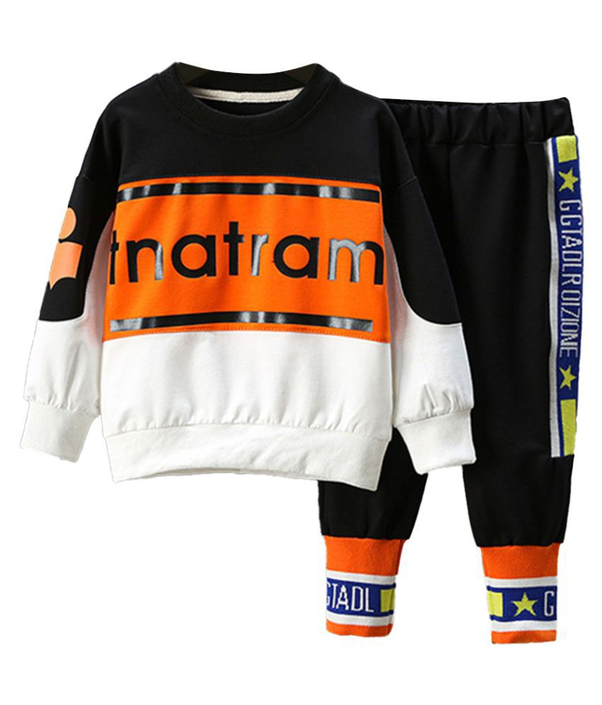Hopscotch Boys Cotton And Spandex Full Sleeves Text Printed Sweatshirt And Jogger Set in Black Color For Ages 3-4 Years (XHZ-3408911)