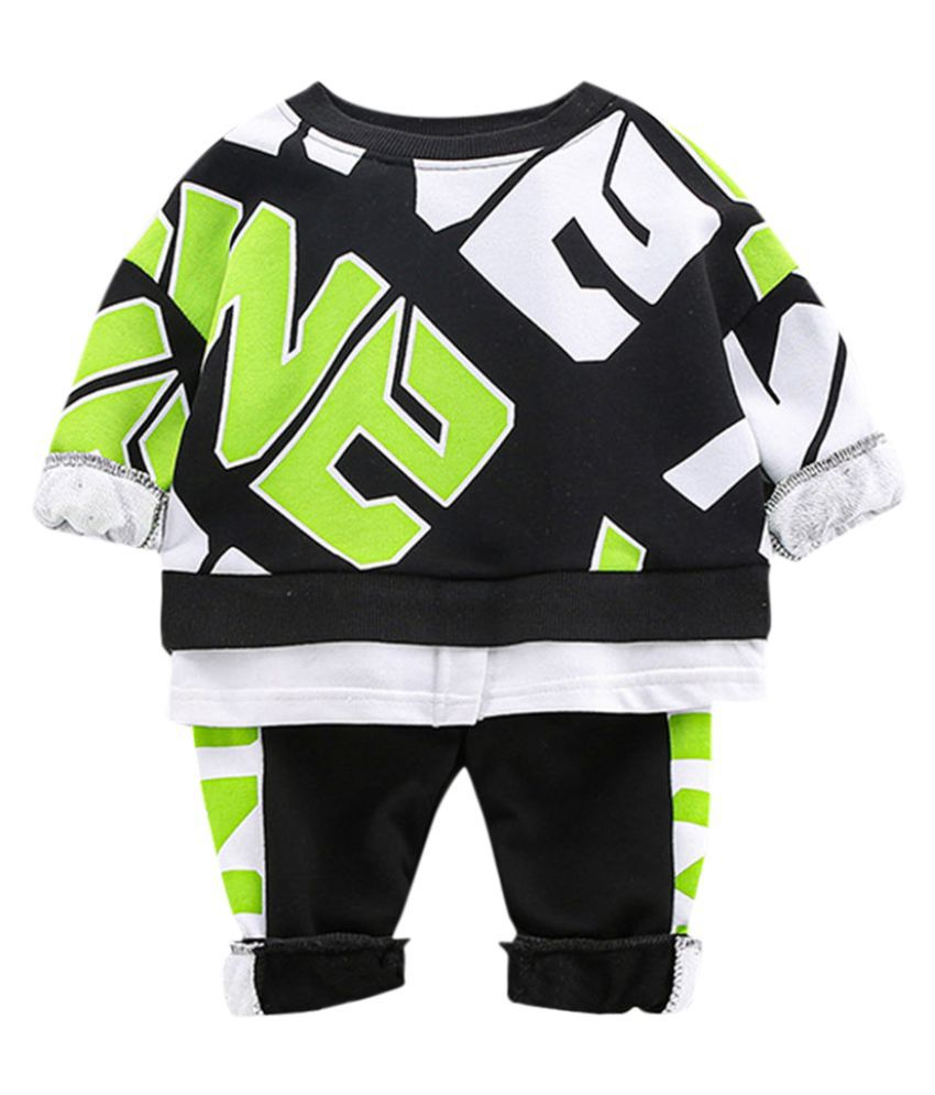 Hopscotch Boys Cotton And Spandex Full Sleeves Text Printed Sweatshirt And Jogger Set in Green Color For Ages 3-4 Years (XHZ-3179613)