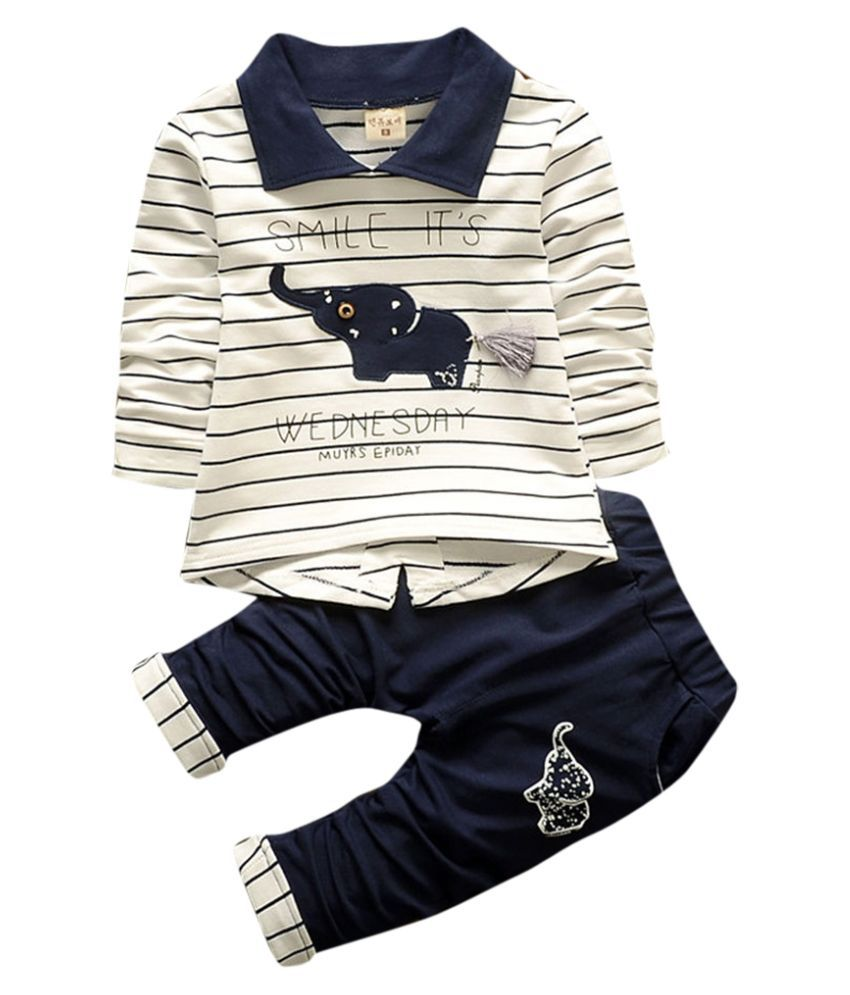 Hopscotch Boys Cotton, Polyester Full Sleeves Stripes Printed T-Shirt With Pant Set in Navy Color For Ages 2-3 Years (YAH-3064157)