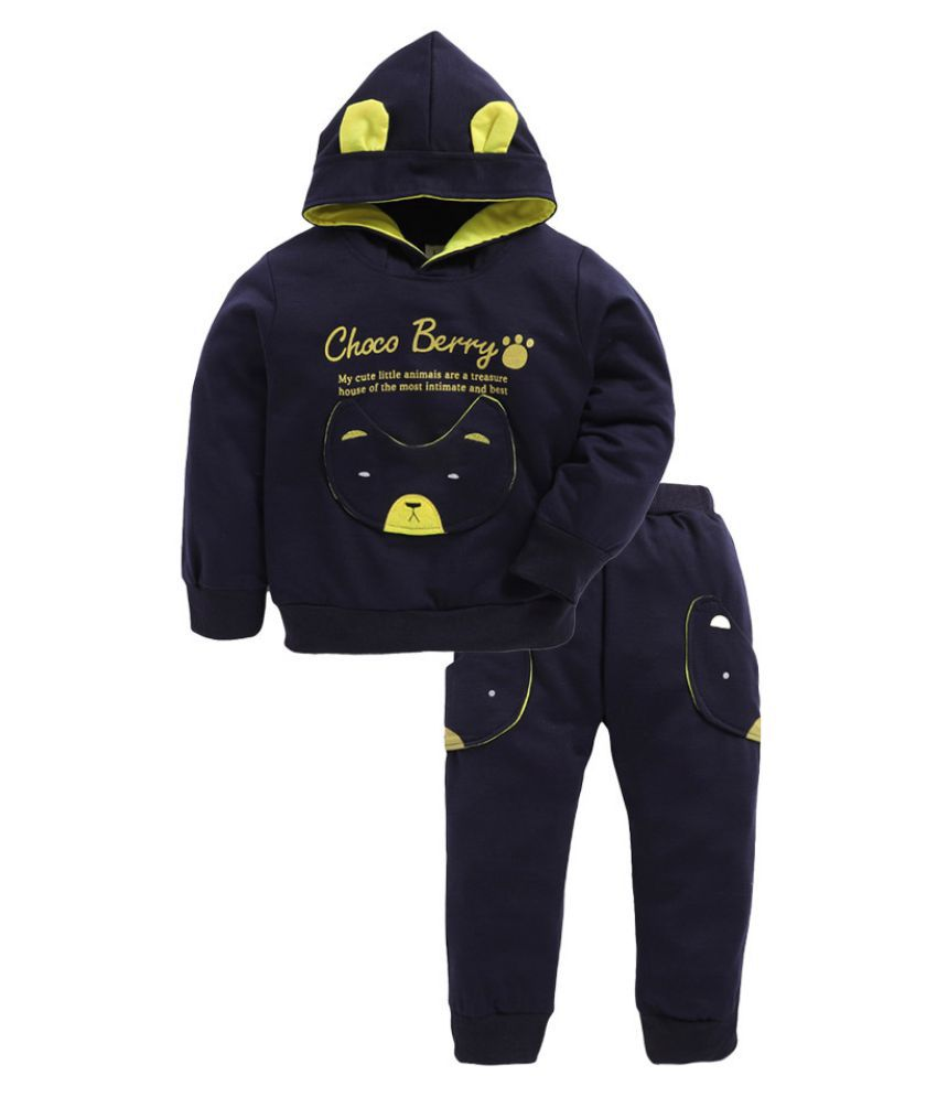 Hopscotch Boys Cotton, Spandex Applique Text Hoodie And Pant Set in Navy Color For Ages 3-3.5 Years (LSB-1975888)