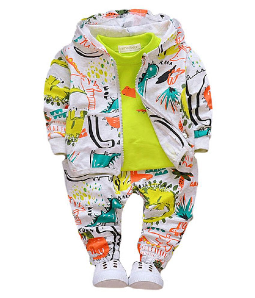 Hopscotch Boys Cotton, Spandex Art Print T-Shirt With Jacket And Pant Set in Green Color For Ages 3-4 Years (WER-1506645)
