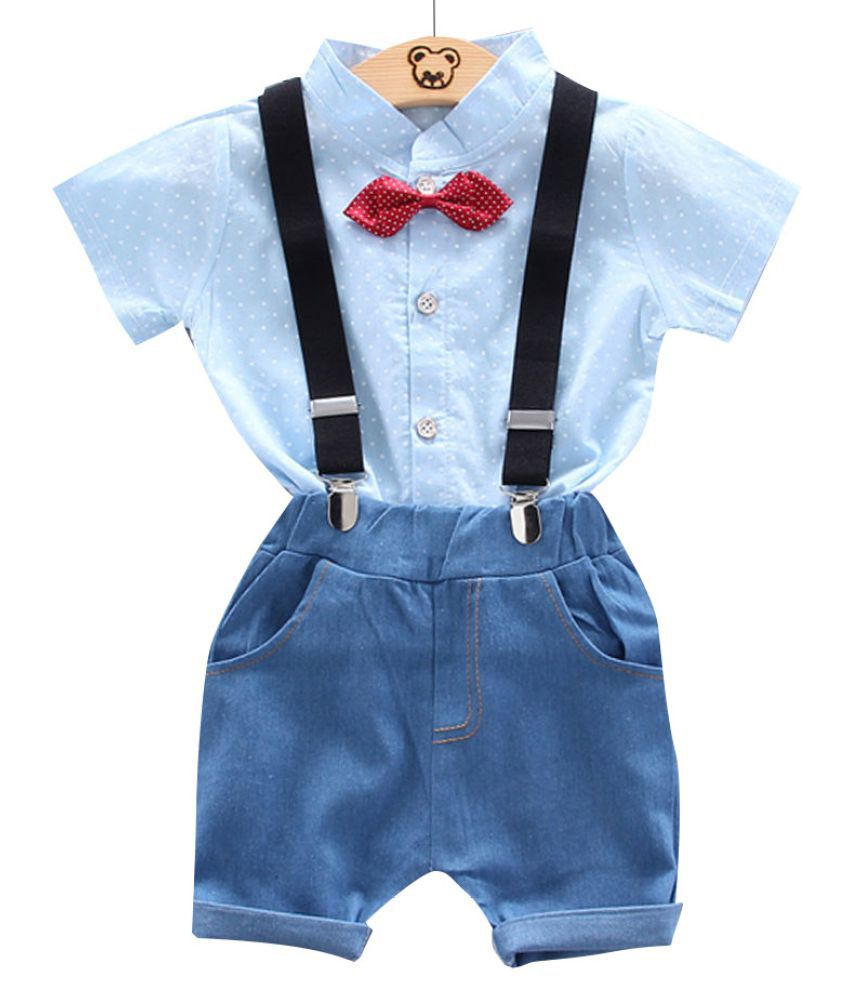 Hopscotch Boys Cotton, Spandex Half Sleeves Polka Dot Printed Shirt With Short Set in Blue Color For Ages 2-3 Years (XHZ-3082778)