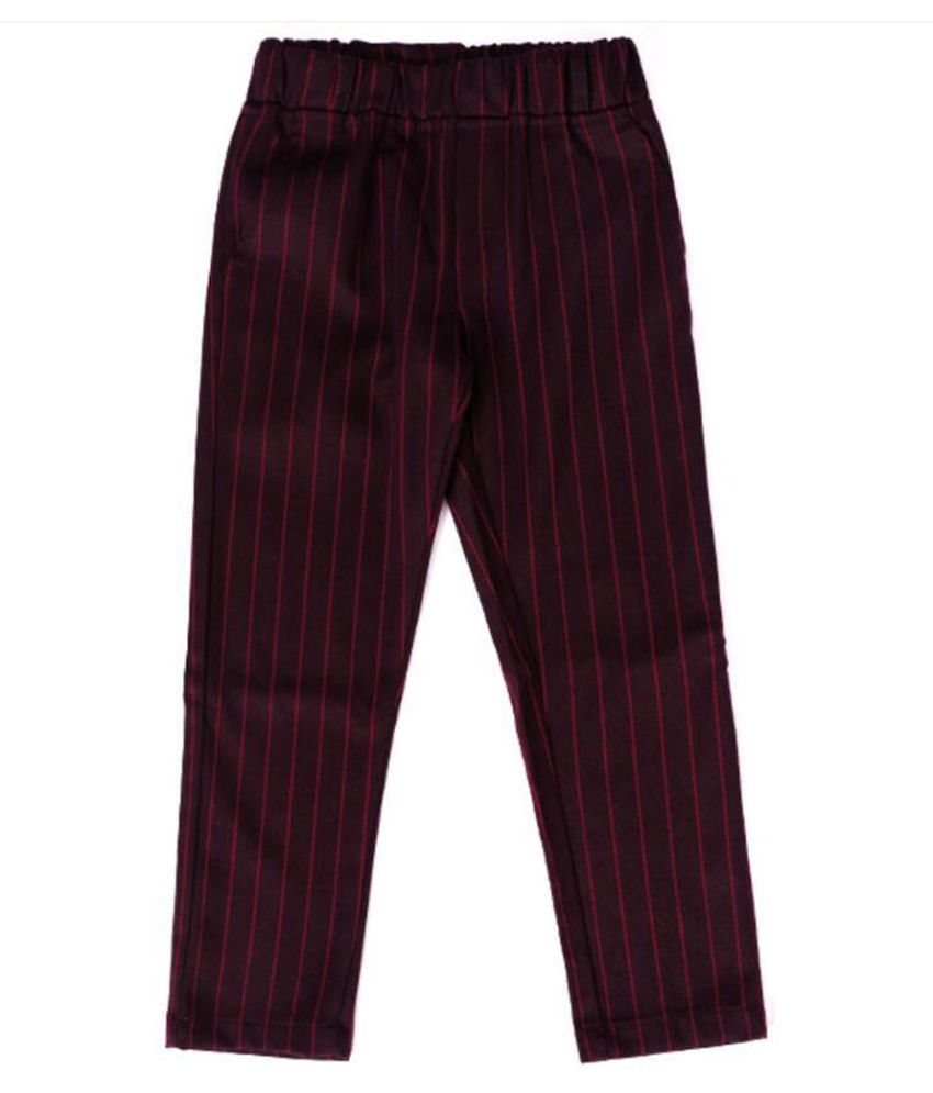 Hopscotch Boys Polyester And Cotton Vertical Stripes Waistcoat & Pant Set in Red Color For Ages 3-4 Years (HWT-3103370)