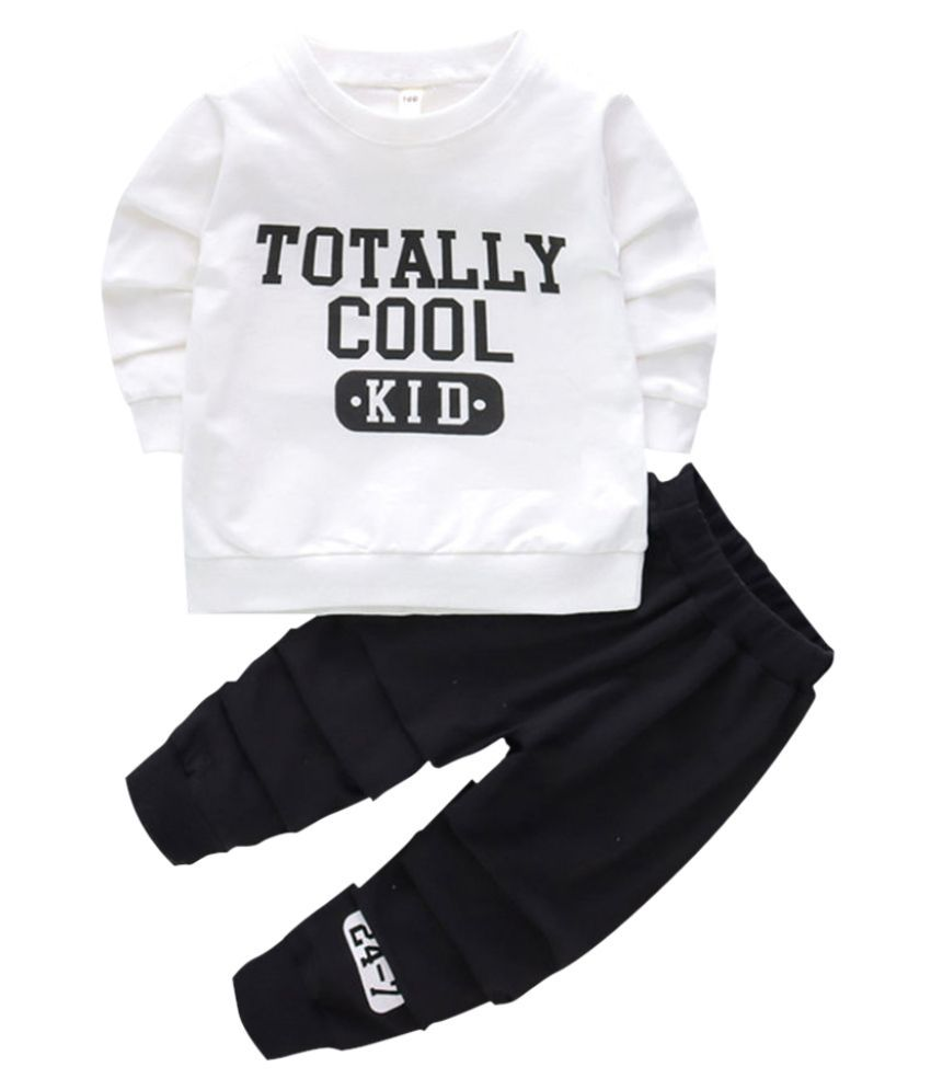 Hopscotch Boys and Girls Cotton And Spandex Full Sleeves Text Printed Sweatshirt And Jogger Set in White Color For Ages 2-3 Years (MSR-3165417)