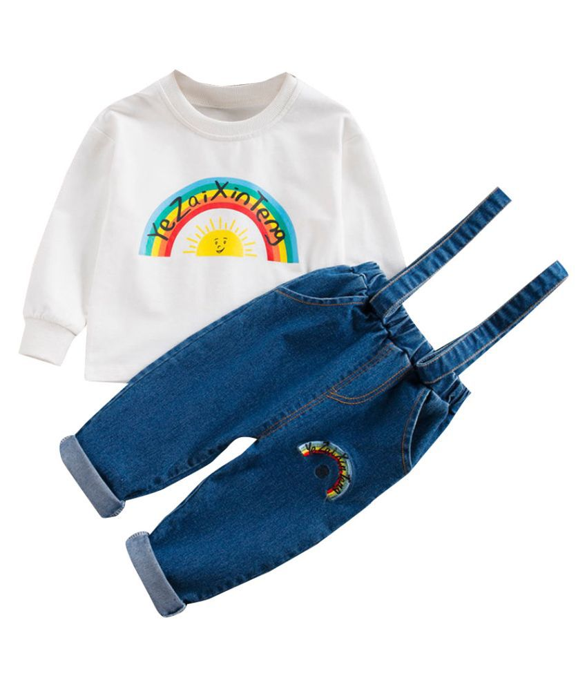 Hopscotch Boys and Girls Cotton And Polyester Full Sleeves Text Art Printed T-Shirt And Dungaree Overall Set in White Color For Ages 4-5 Years (YF0-3113165)