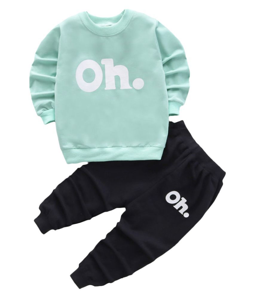 Hopscotch Boys and Girls Cotton And Spandex Full Sleeves Text Printed Sweatshirt And Jogger Set in Green Color For Ages 2-3 Years (MSR-3165408)