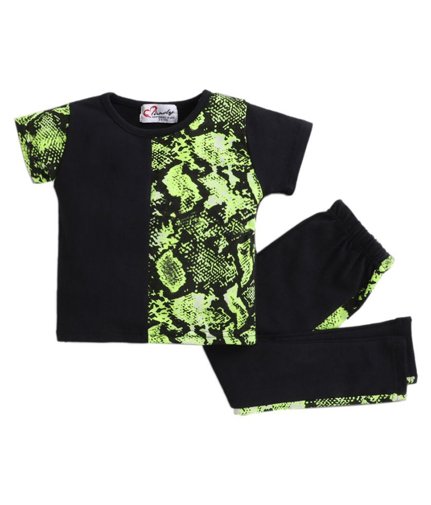 Hopscotch Girls Cotton And Spandex Snake Print Crop Top With Pants Set in Black Color For Ages 2-3 Years (MBC-3435575)