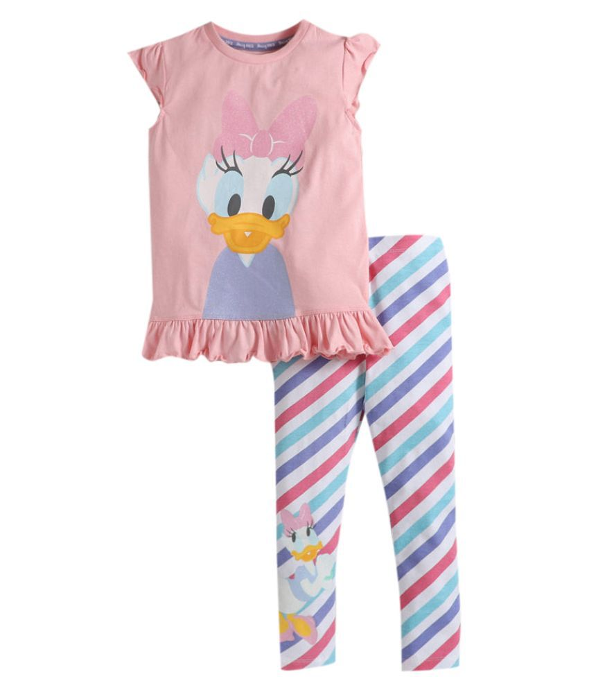 Hopscotch Girls Cotton Cap Sleeves Daisy Duck Printed Tshirt With Stripes Leggings in Pink Color For Ages 7-8 Years (LCU-3281449)
