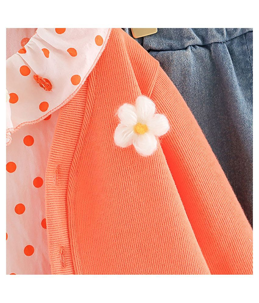 Hopscotch Girls Cotton Full Sleeves Applique Floral Solid Jacket, Top And Pant Layering Set in Orange Color For Ages 2-3 Years (HPB-3272154)