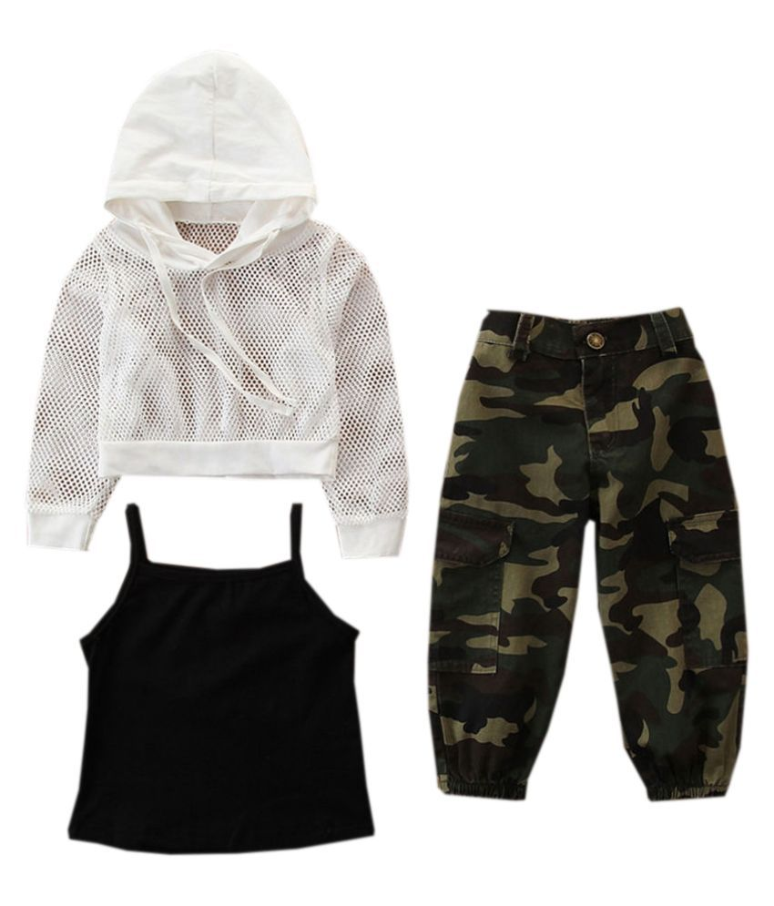 Hopscotch Girls Cotton Full Sleeves Hoodie With Crop Top And Jogger Set in White Color For Ages 4-5 Years (SB9-3082447)