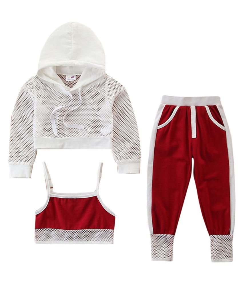 Hopscotch Girls Cotton Solid Full Sleeves Hoodie And Pant Set in Red Color For Ages 2-3 Years (SB9-3109320)