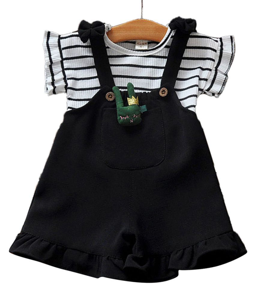 Hopscotch Girls Cotton, Spandex Striped Design Top And Pinafore Set in Black Color For Ages 2-3 Years (XXC-1751831)