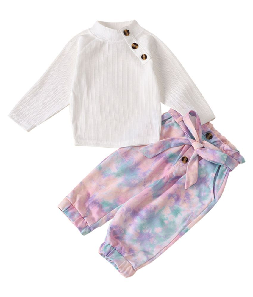 Hopscotch Girls Polyester And Spandex Full Sleeves Applique Solid Top And Jogger Set in White Color For Ages 3-4 Years (JIG-3153157)