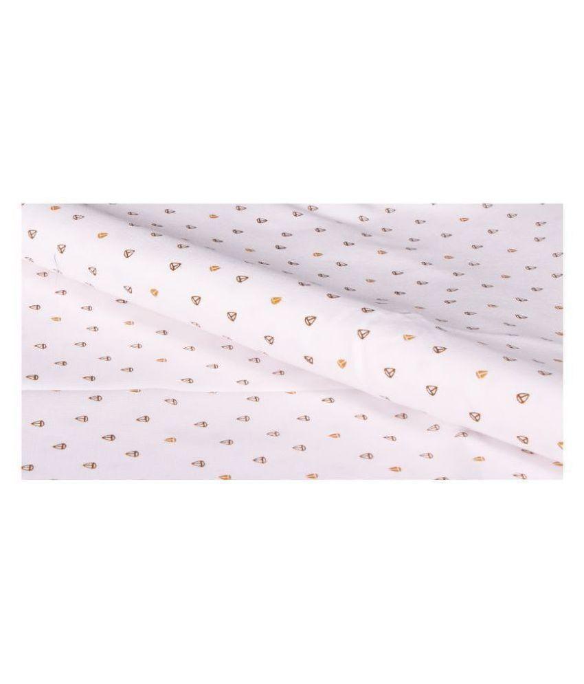 Makhanchor White 100 Percent Cotton Unstitched Shirt pc Single