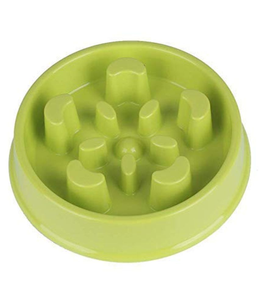 Emily Pets Slow Pet Feeder Food and Water Dogs Bowl for Dog and Cat (Green)