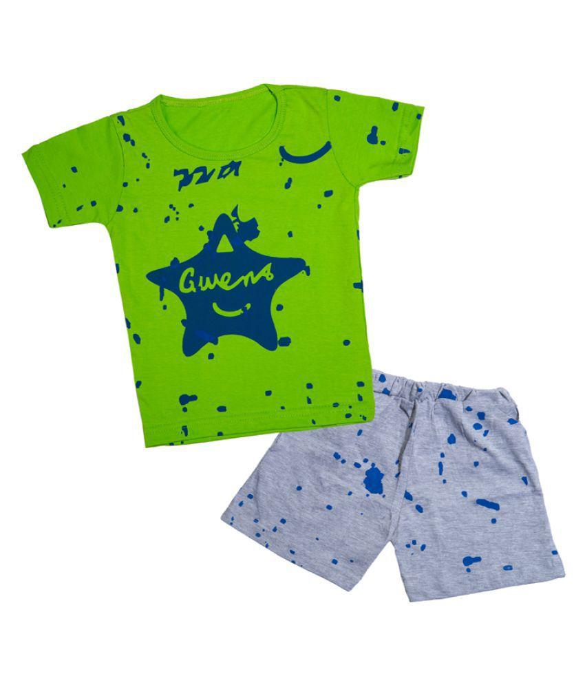 CATCUB Kids Cotton Star Printed Clothing Set (Green)