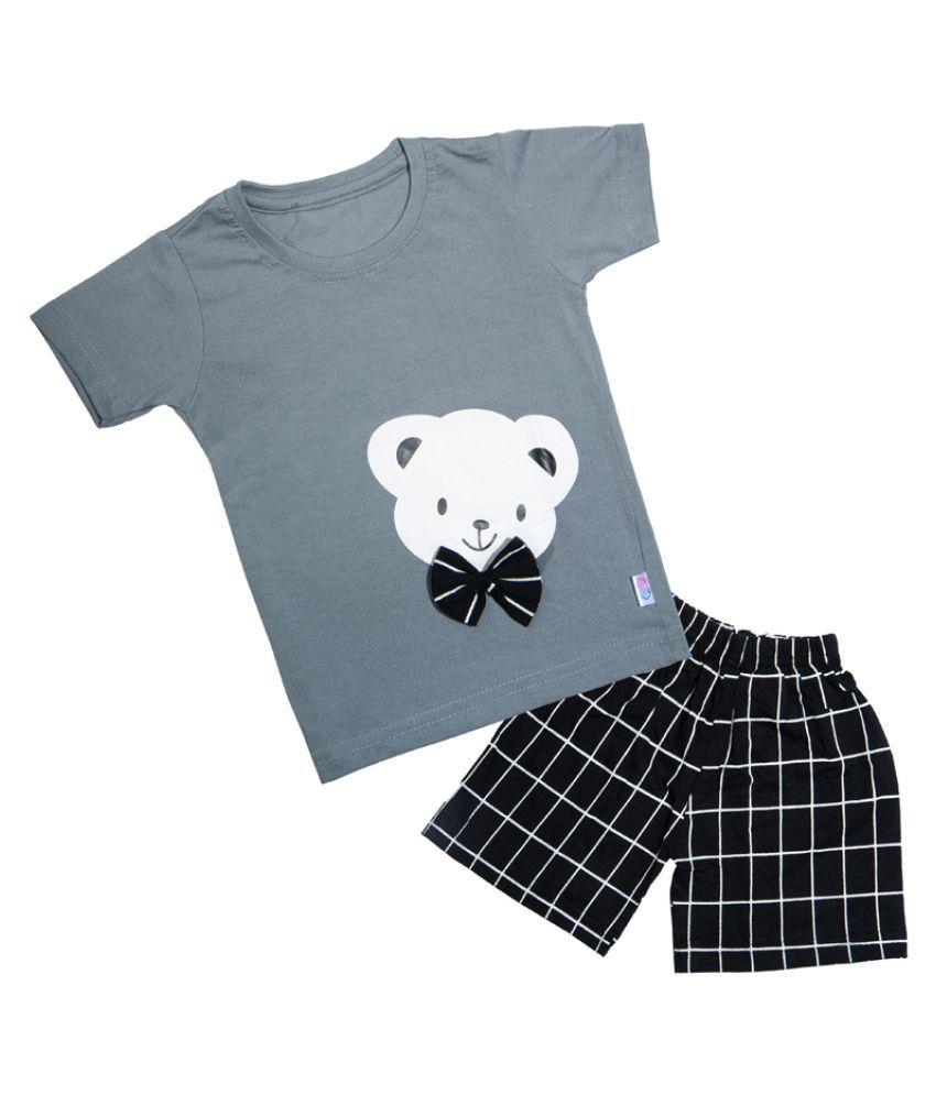 CATCUB Kids Cotton Teddy Printed Clothing Set (Grey)