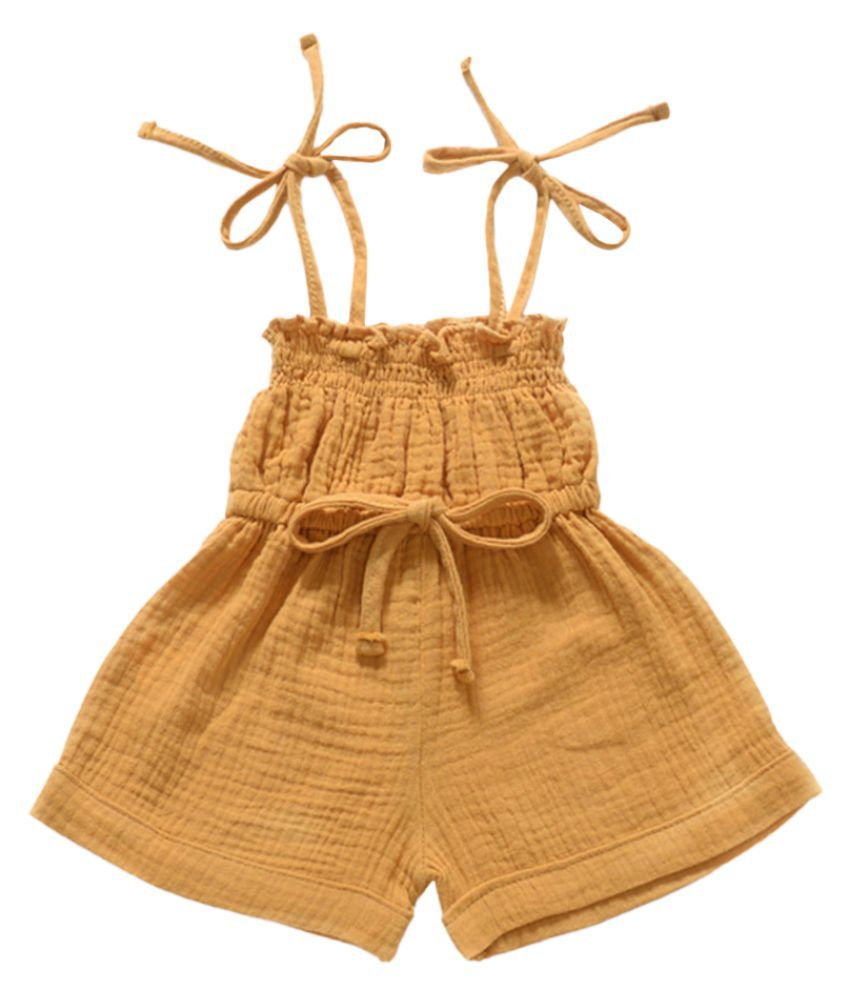 Hopscotch Baby Girls Cotton And Spandex Sleeveless Solid Dungaree in Yellow Color For Ages 9-12 Months (TNV-3129940)