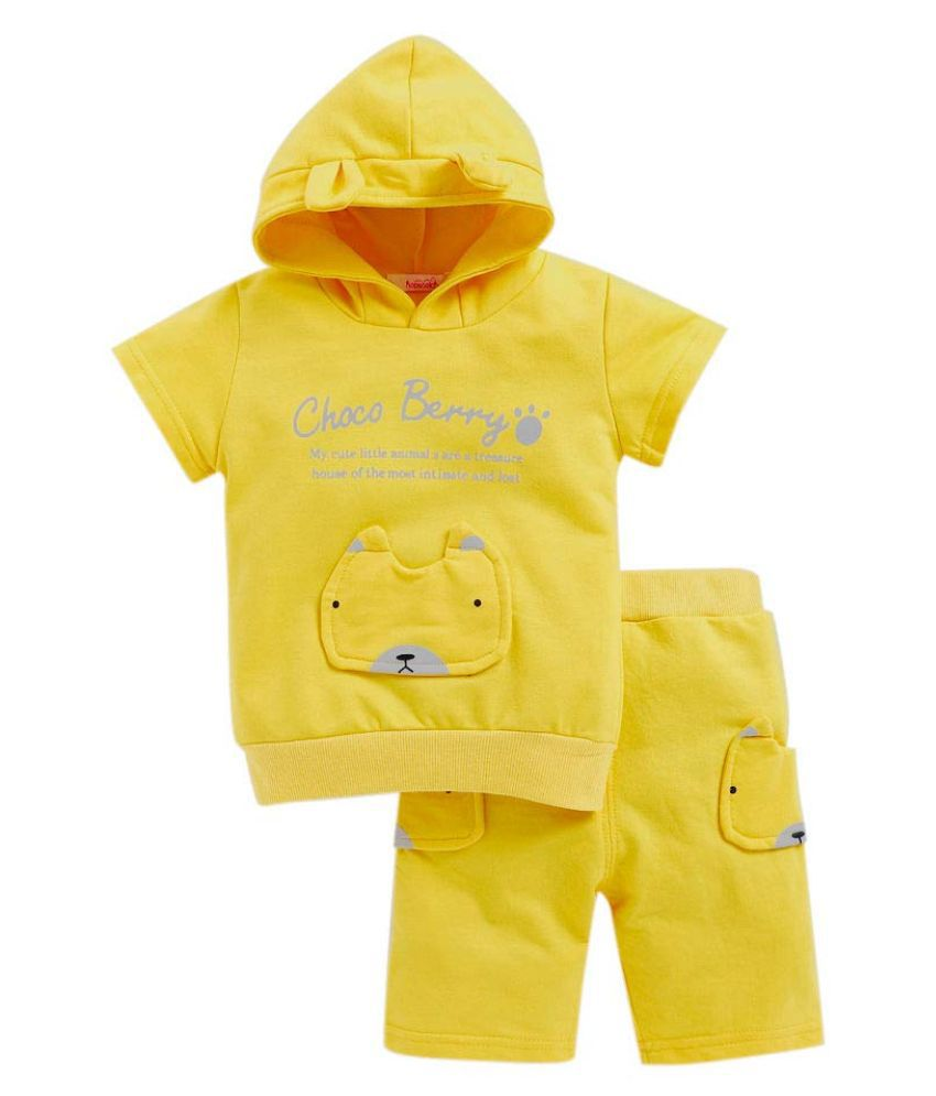 Hopscotch Boys Cotton, Polyester Stylish Half Sleeves Top And Shorts Set in Yellow Color For Ages 2-3 Years (JL-2341017)