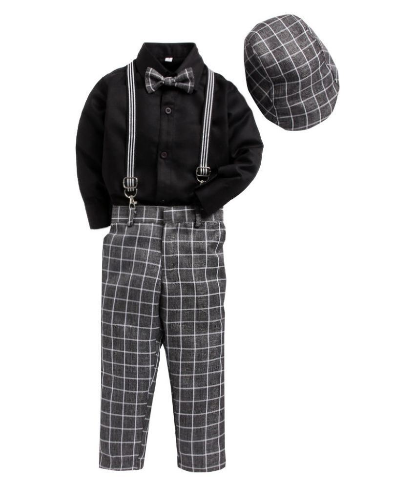Hopscotch Boys Silk Cotton Blend Suspender Pant Set With Shirt And Cap in Gray Color For Ages 8-9 Years (JJD-2450658)