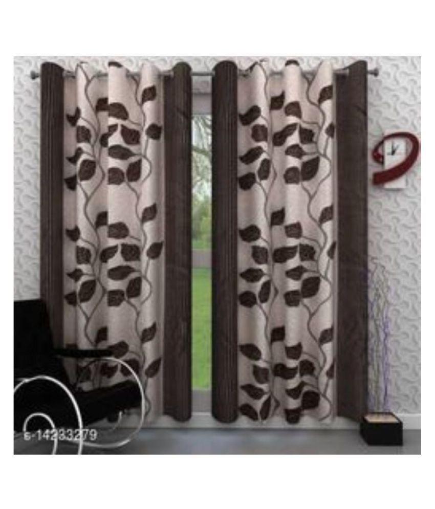 DealsDen Set of 2 Door Eyelet Polyester Curtains Brown