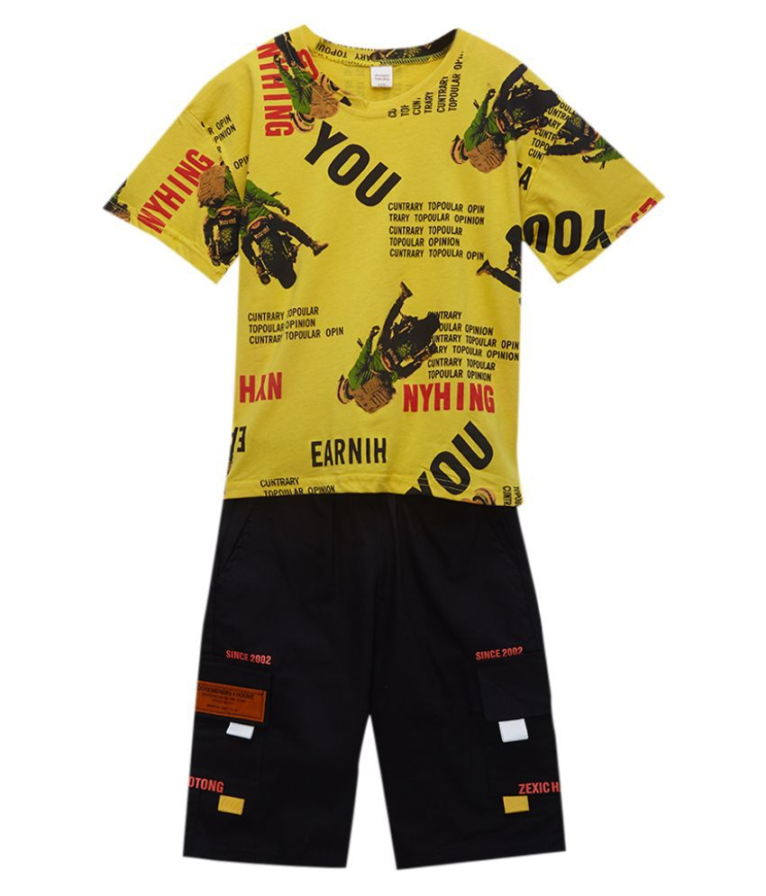 Hopscotch Boys Cotton Fiber Text Print Half Sleeve Sports Set in Yellow color for Ages 8-9 Years (YIB-3066788)