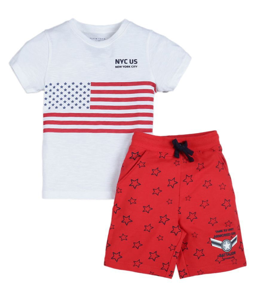 Hopscotch Boys cotton Half Sleeve US Flag Print T-shirt and Short Pack of 2 in Off White color for Ages 5-6 Years (LRE-3385147)