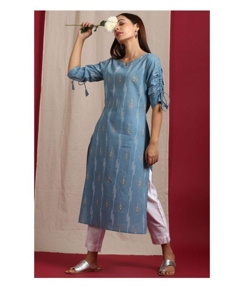 Janasya Blue Cotton Straight Kurti