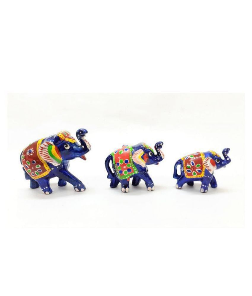 AFTERSTITCH Multicolour Earthenware Decorative Elephant - Pack of 3