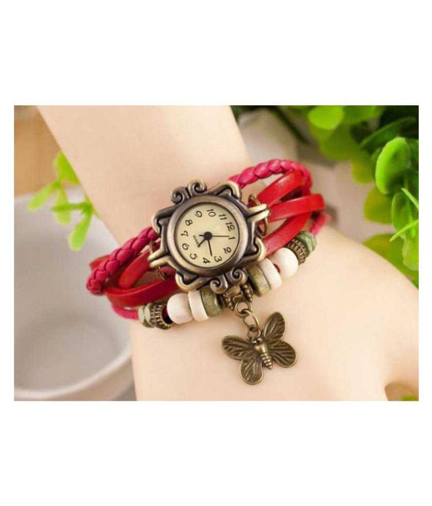 Designer Leather Stylish  Bracelet watch Lovely Butterfly Pendent Valentine Special