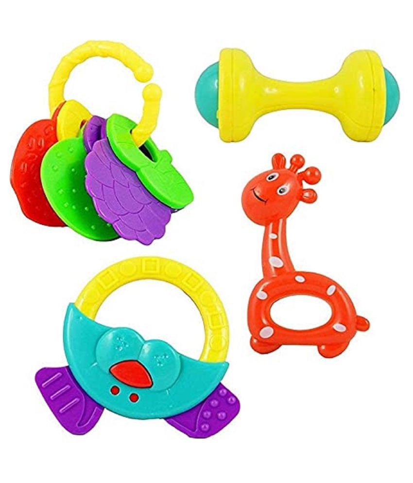 Toy Boutique Baby Rattle Toys for Kids, Set of 4 Pcs - Colourfull Lovely Attractive Rattles and Teether for Babies, Toddlers, Infants & Children Rattles Rattle Toys for Infants