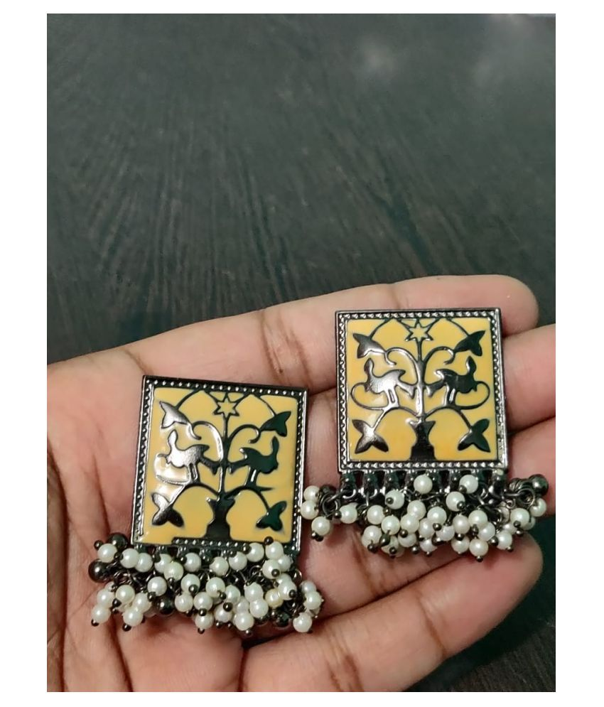 Designer Traditional Oxidized Silver Afghani Style Big Jhumka Jhumki Colored Enamel Work  Earrings for Women and Girls