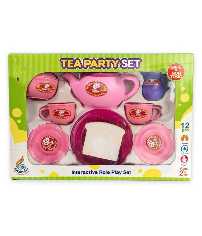 Plastic Multicolour Tea Party Set for Kids - Age Group : 2 Years and Above (Pack of 14)