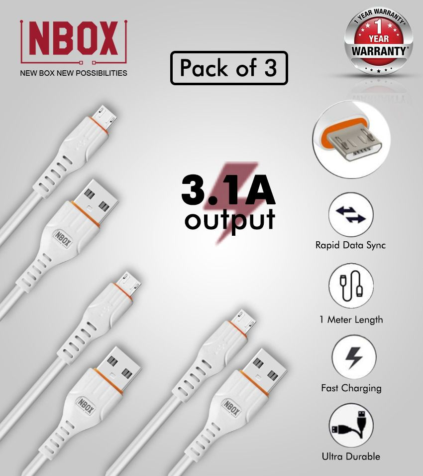 NBOX Pack of 3 White Micro USB 3A Data Cable