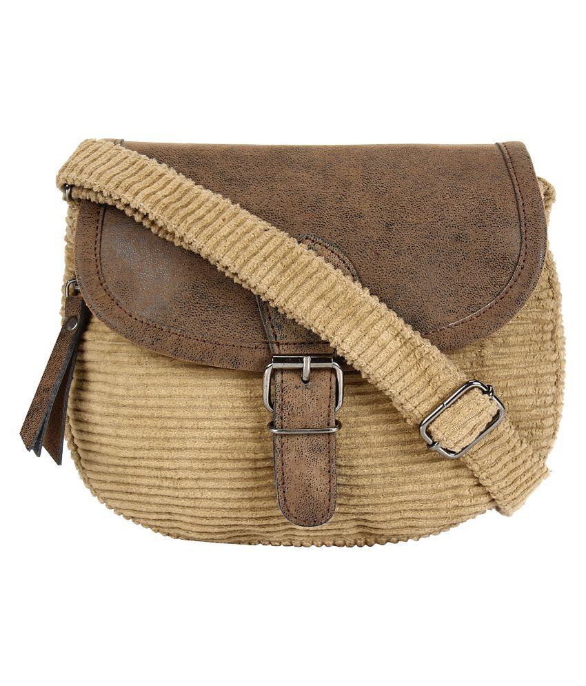 Anekaant Beige Cotton Sling Bag