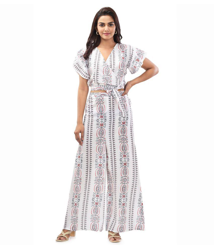 Anaghakart Cotton Lycra White Peplum Dress