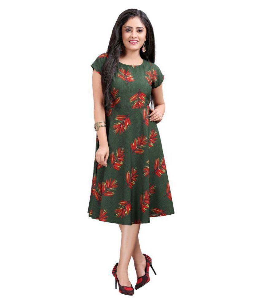 HivaTrendz Crepe Green Fit And Flare Dress