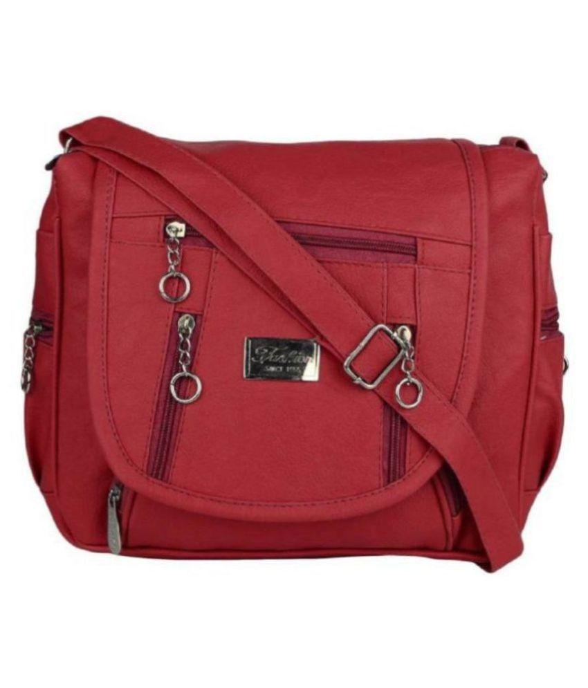 Devanshiart Maroon P.U. Sling Bag