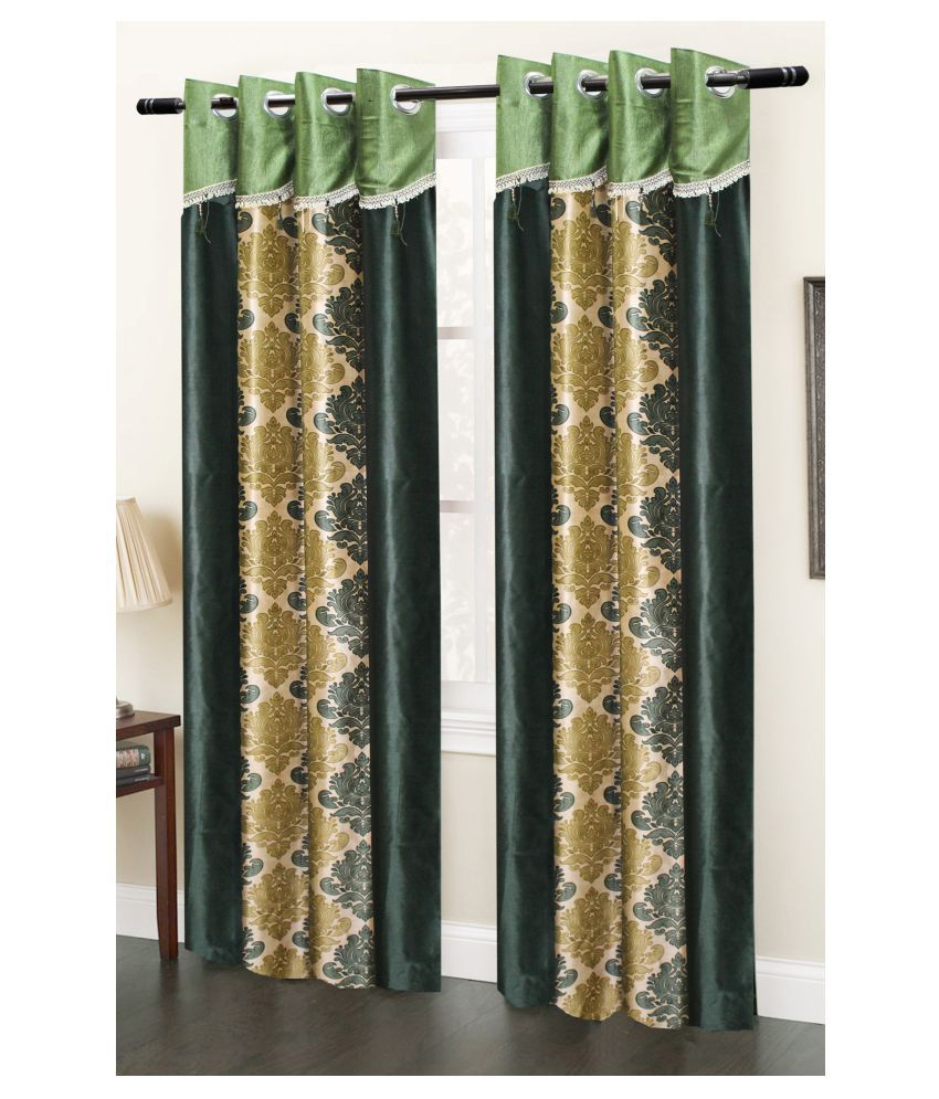 Homefab India Set of 2 Door Transparent Eyelet Polyester Curtains Multi Color