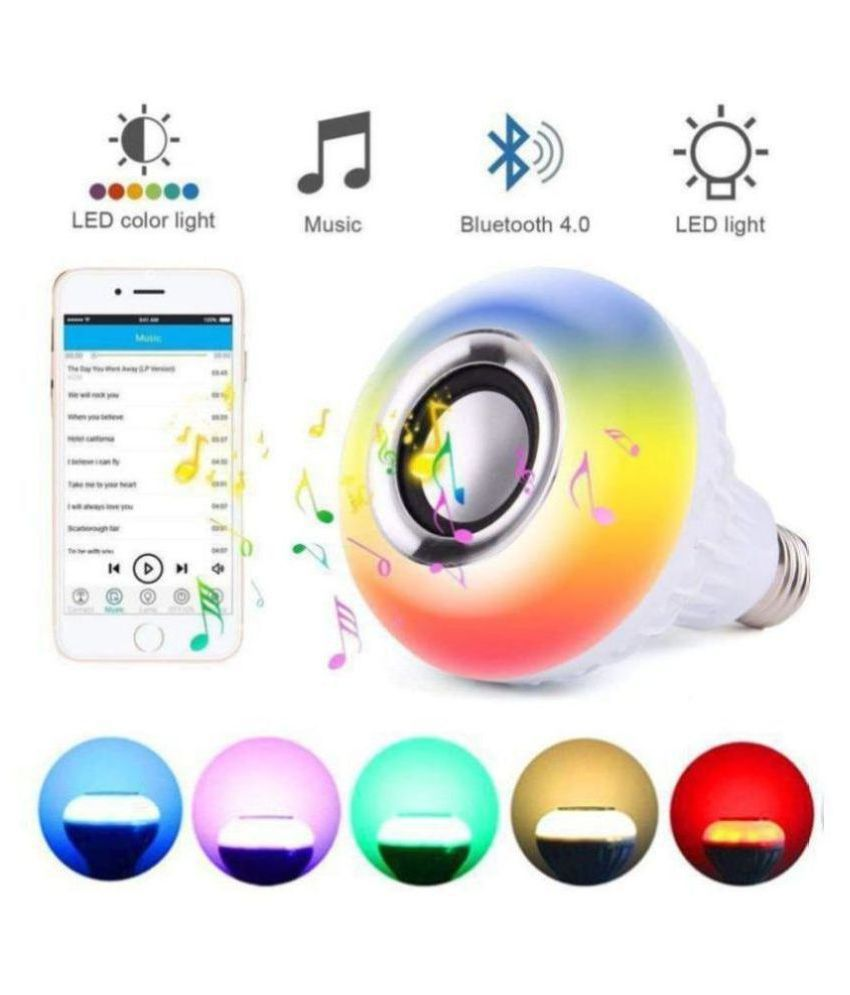 Music and Light Bulb, E27 & B22 LED Light Bulb With Bluetooth Speaker RGB Self Changing Color Lamp Built-In Audio Speaker