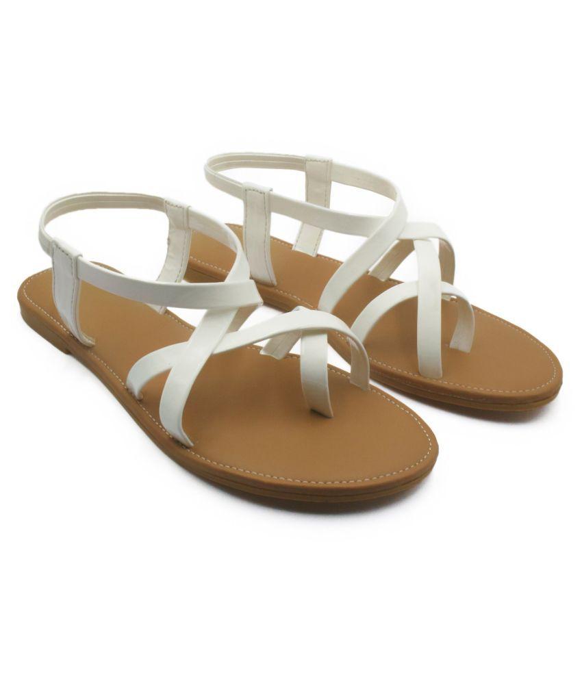 MM LEDERWAREN White Slippers