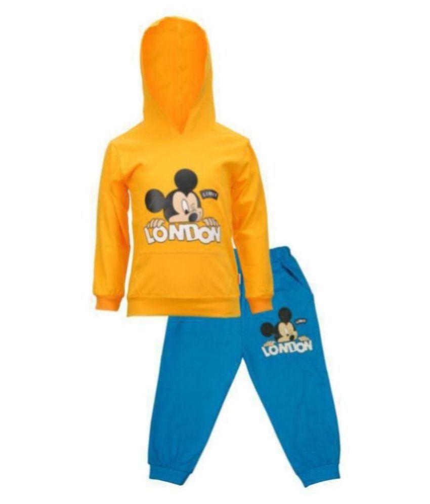 CATCUB Kids Hooded Mickey Mouse Combo Top & bottom Set (Yellow)