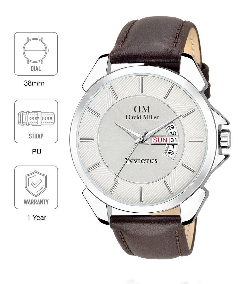 David Miller White Dial Brown PU Strap Men's Watch - DMRCM66C